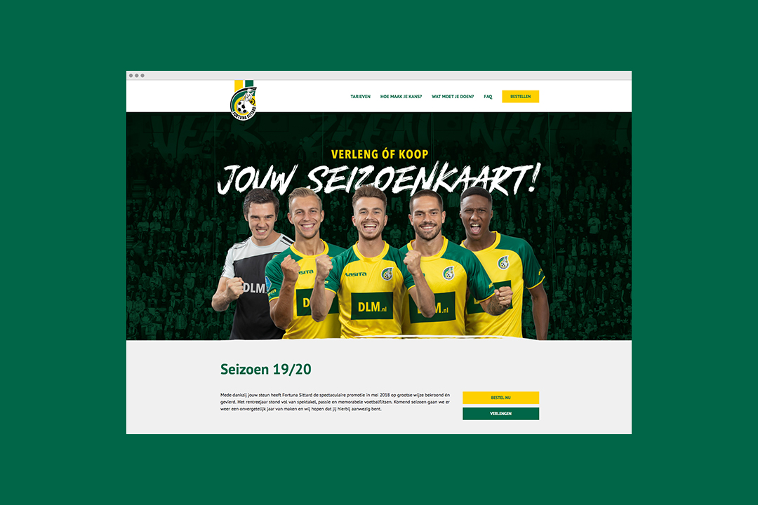 Mock up van de campagne website van Fortuna Sittard