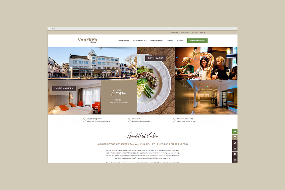 Mock-up van de website van Hotel Voncken